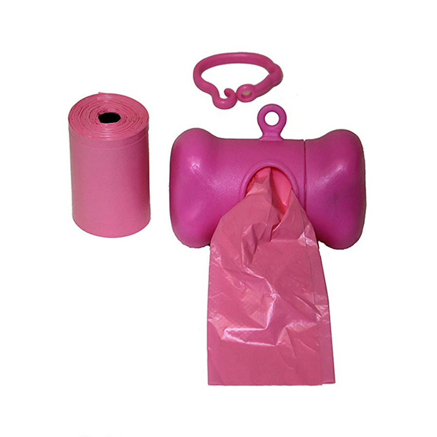 Wholesale  pattern pink  dog shaped dog poop bag d